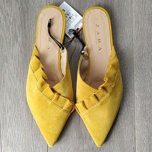Zara Yellow Mules with Frill